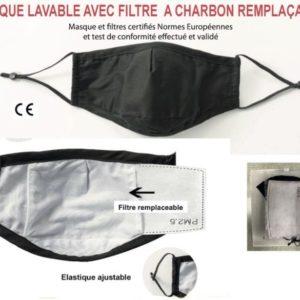 masque lavable + filtres charbon Pangolina