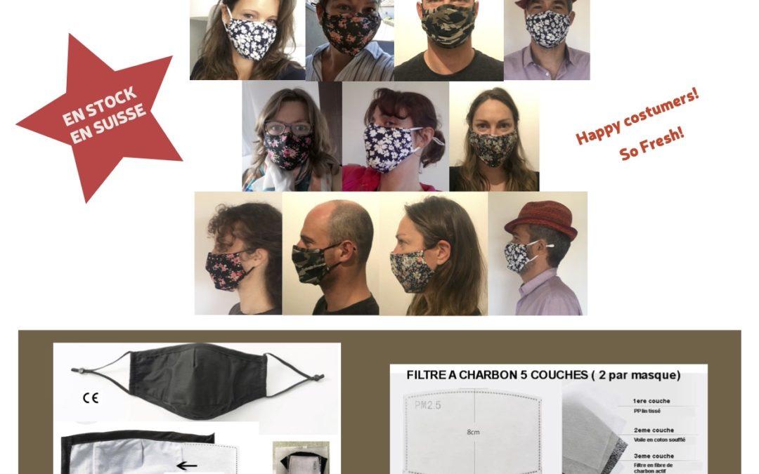 Tant qu'à être masqué autant être stylé! Masques en coton et filtres à charbon, vente au détail