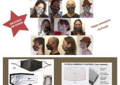 Tant qu'a être masqué autant être stylé! Masques en coton et filtres à charbon, vente au détail