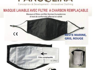 Masques en coton et filtres à charbon, vente au détail, certifié EU et DGA